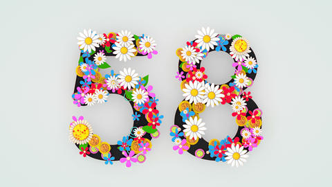 Numerical digit floral animation, 58 Animation