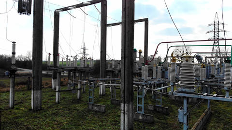 High Voltage Electrical Substation High Voltage Power Plant for a Small Town Electric Power Live Action