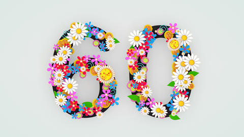 Numerical digit floral animation, 60 Animation