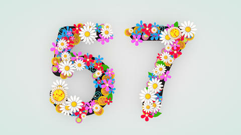 Numerical digit floral animation, 57 Animation