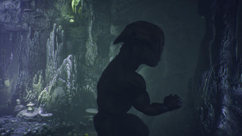Fabulous amazing creature runs through a magical cave with a fabulous forest. Beautiful magical cave Animation