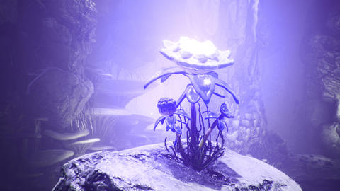 Fantastic green mushrooms and magic blue flower in a amazing cave. Beautiful magic mushrooms in the Animation