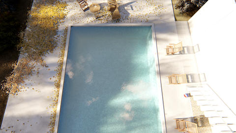 The camera flies over the pool in autumn on a clear Sunny day Animation