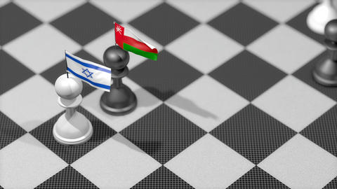 Chess Pawn with country flag, Israel, Oman Animation