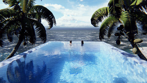 Beautiful swimming pool with bathing man and woman at sunny day, on a lost tropical island. Looped Animation