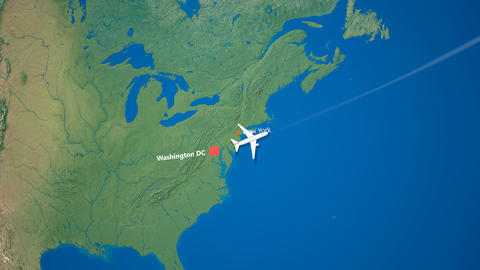 Air travel flying route destination, United States India Animation