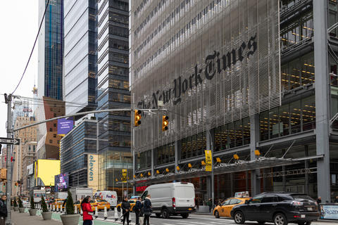 The New York Times newspaper headquarters in NYC フォト