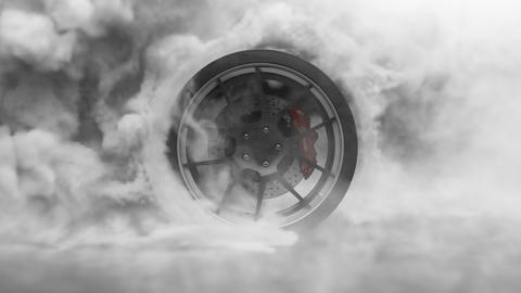 Tire Burnout. Burning rubber and Smoking tire with a rotating wheel with thick Smoke on dark Animation