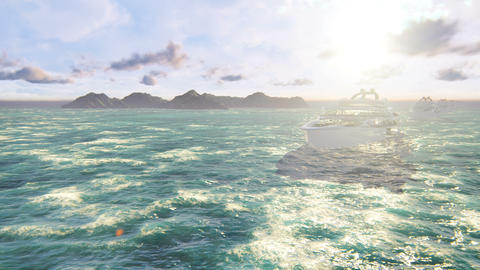 A fleet of luxury modern yachts sailing the ocean on a Sunny day. Looped realistic animation Animation