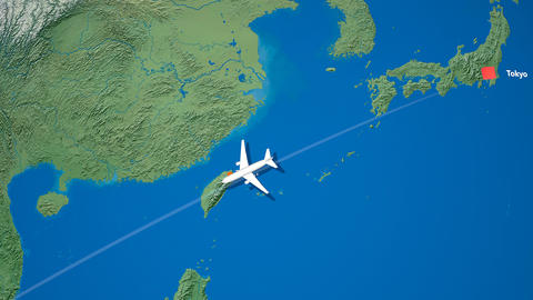 Air travel flying route destination, Japan Malaysia Animation