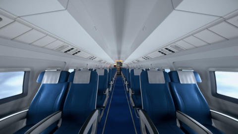 Interior of modern airplane with passengers on seats. Empty airplane seats in modern airplane Animation