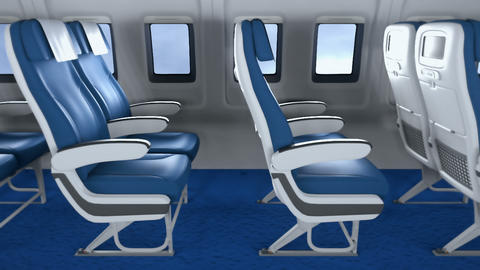 The camera flies past the empty seats in the modern cabin towards the window. The interior of a Animation