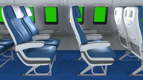 The camera flies past the empty seats in the modern cabin towards the window with green screen. The Animation