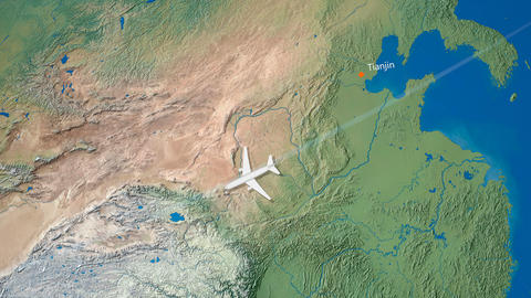 Air travel flying route destination, Japan Iran Animation