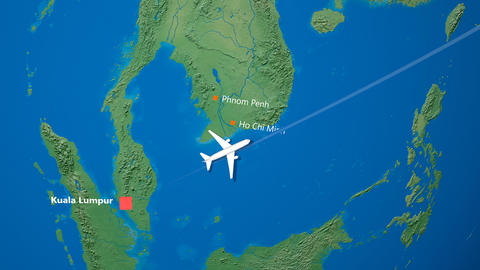 Air travel flying route destination, Malaysia Japan Animation