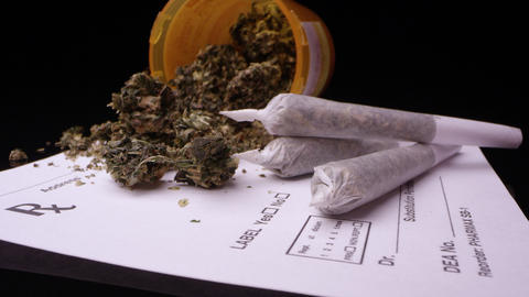 Panning view of medical marijuana sitting on RX sheet Live Action