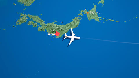 Air travel flying route destination, Japan United States Animation
