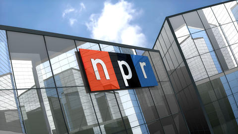 Editorial, National Public Radio logo on glass building Animation