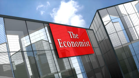 Editorial, The Economist logo on glass building Animation