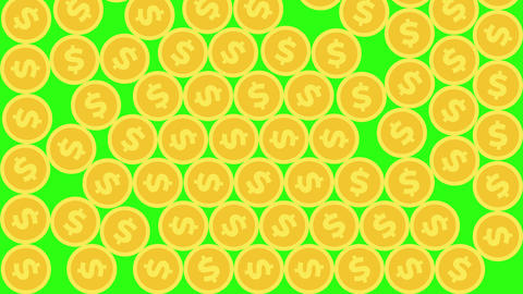 Falling Coins Filling the Entire Screen on Green Background with Luma Matte Animation