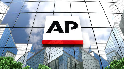 Editorial, Associated Press logo on glass building Animation