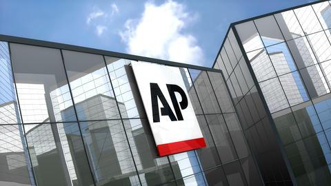 Editorial, Associated Press logo on glass building Animation