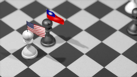 Chess Pawn with country flag, United States, Taiwan Animation