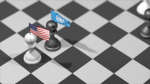 Chess Pawn with country flag, United States, United Nation Animation