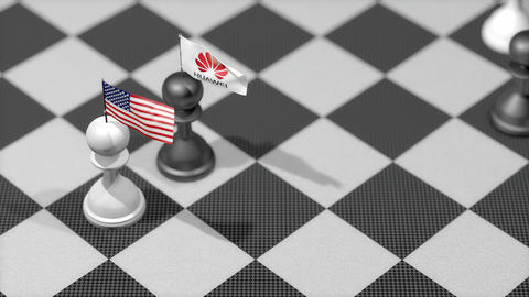 Editorial, Chess Pawn with flag, United States, Huawei Animation