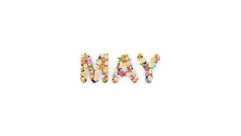 Floral calendar month text animation, May Animation