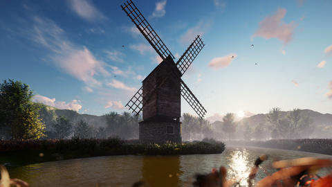 Traditional village windmill standing near the pond against the background of mountains and clouds Animation