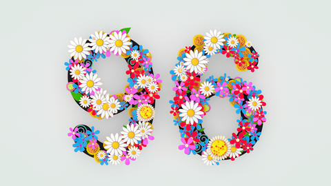 Numerical digit floral animation, 96 Animation