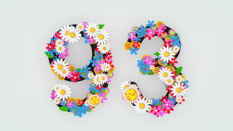 Numerical digit floral animation, 93 Animation