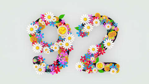 Numerical digit floral animation, 92 Animation