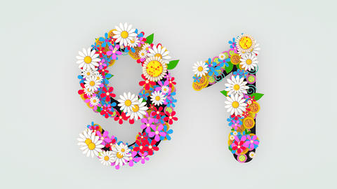 Numerical digit floral animation, 91 Animation