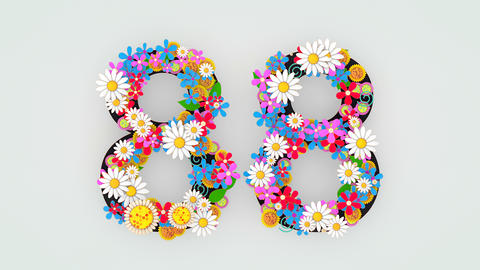 Numerical digit floral animation, 88 Animation