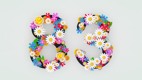 Numerical digit floral animation, 83 Animation