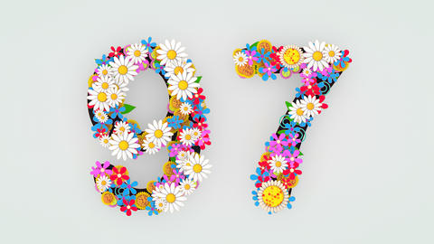 Numerical digit floral animation, 97 Animation