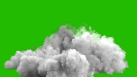 An increasing cloud of Smoke after a strong explosion and shockwave in front of a green screen Animation