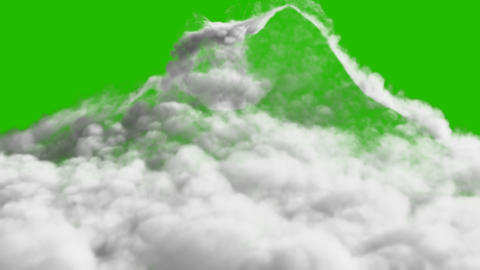 An avalanche of Smoke formed after a strong explosion in front of a green screen Animation