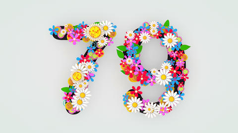Numerical digit floral animation, 79 Animation