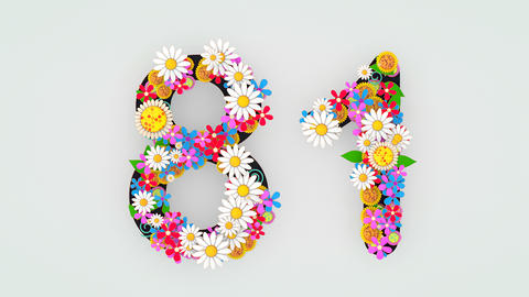 Numerical digit floral animation, 81 Animation