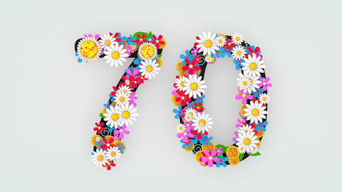 Numerical digit floral animation, 70 Animation