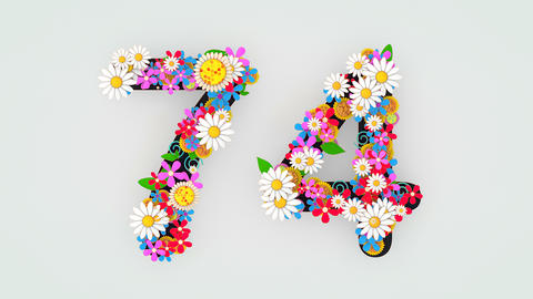 Numerical digit floral animation, 74 Animation