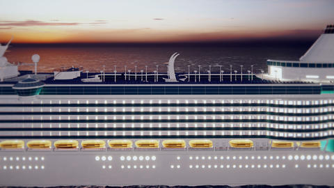 Luxury cruise ship sailing from the port at sunrise across the ocean. Beautiful summer loop Animation