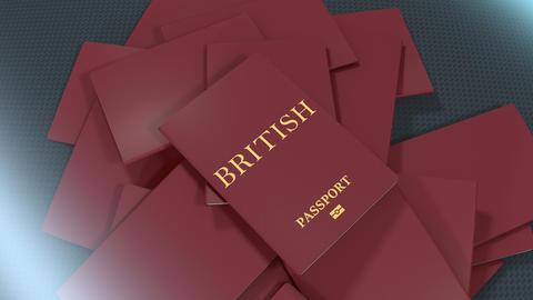 Artist rendering British travel passport Animation