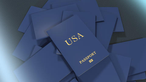 Artist rendering USA travel passport Animation