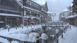 Ginzan Hot Spring, Yamagata Prefecture, Japan Footage