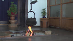 Japanese traditional iron kettle on fire, Nagano Prefecture, Japan Footage