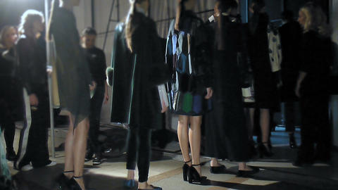 Models entering the catwalk from backstage on fashion week Footage